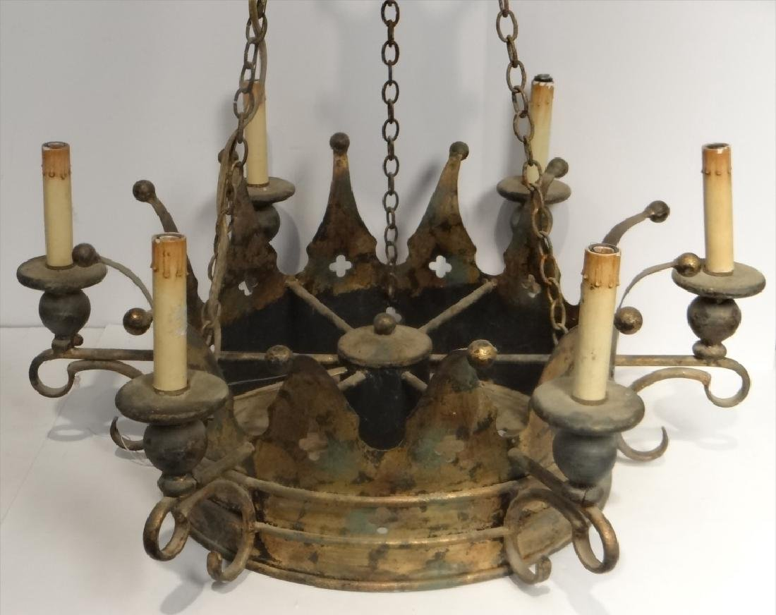 "CROWN SHAPED 6 LIGHT CHANDELIER APPROX. 24"" WIDE - 2"