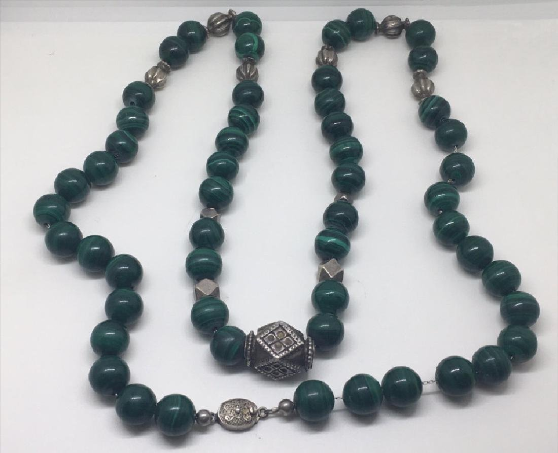 "MALACHITE & SILVER BEADS ON CHIAN 34"" LONG"