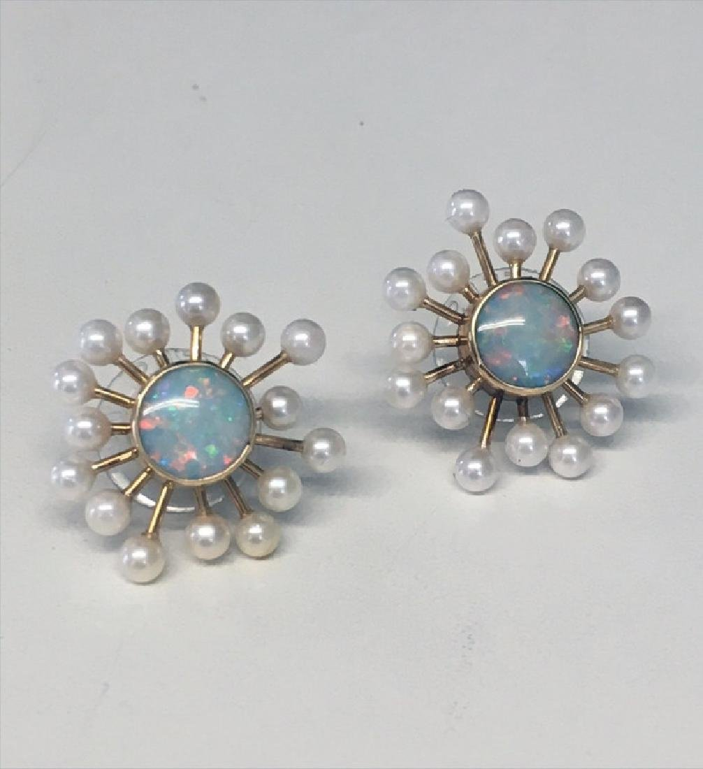 PR OF OPAL, PEARL & 14KT POST EARRINGS