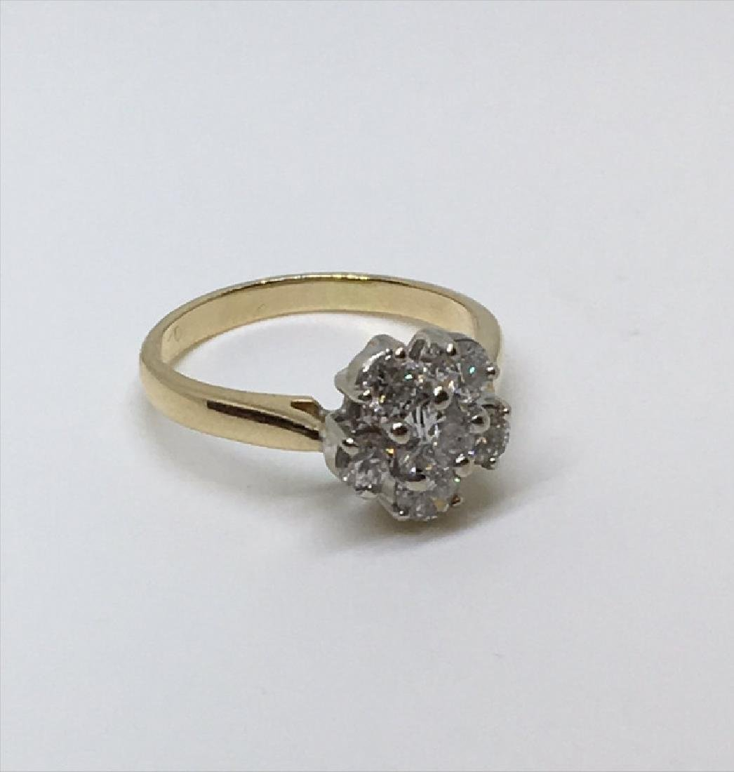 "DIAMOND ""FLOWER"" RING W/ 6 DIAMONDS SET IN 14K"
