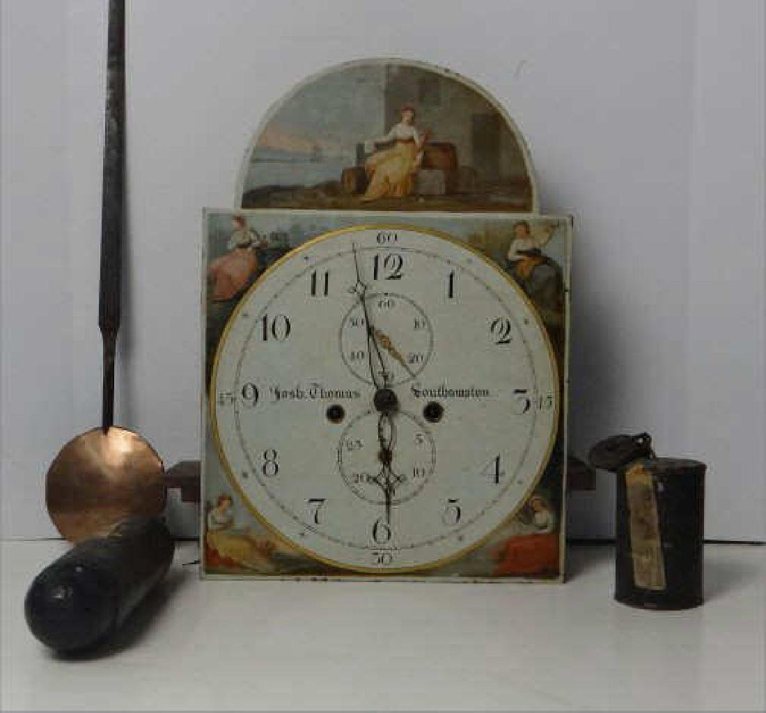 ENGLISH TALL CASE CLOCK WORKS, WEIGHTS & PEDULUM