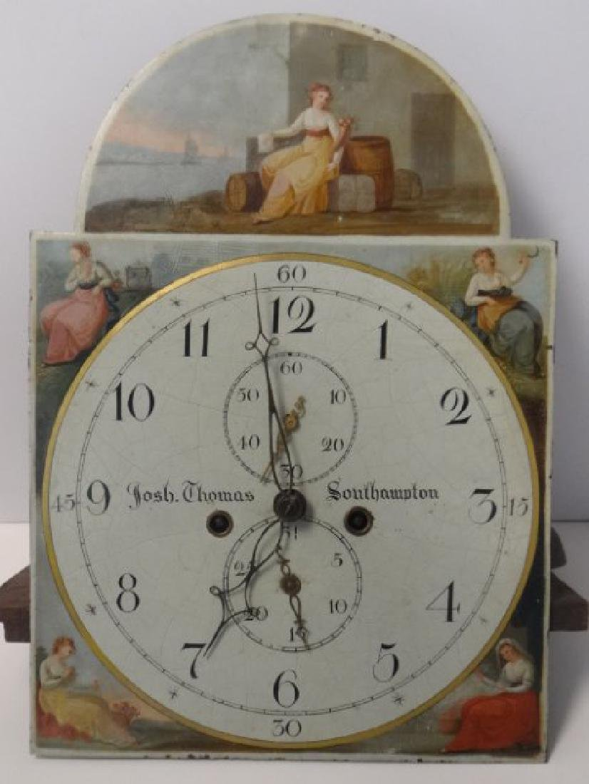 ENGLISH TALL CASE CLOCK WORKS, WEIGHTS & PEDULUM - 2