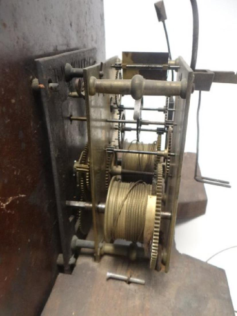 ENGLISH TALL CASE CLOCK WORKS, WEIGHTS & PEDULUM - 4