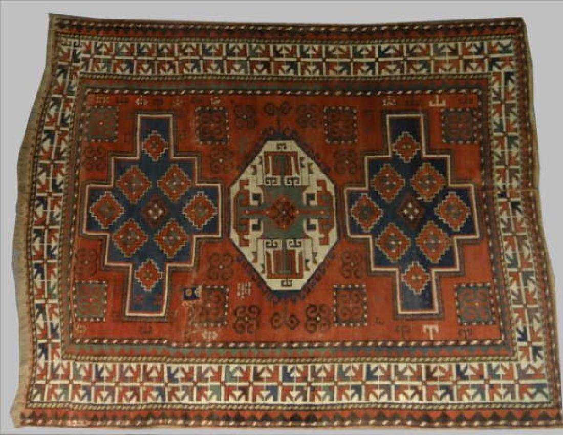 "ANTIQUE KAZAK AREA RUG   85"" X 66 1/2"""