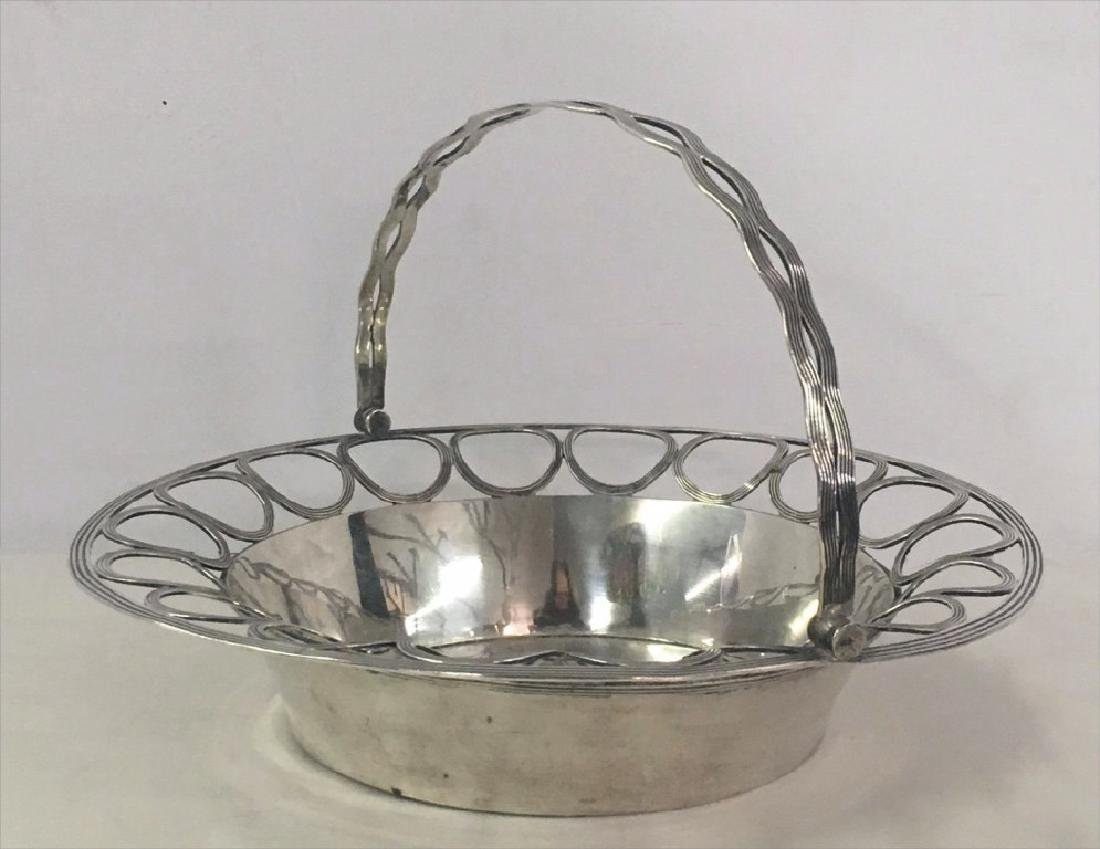 COIN SILVER BASKET W/ PIERCED WORK & LIP TOUCHMARK