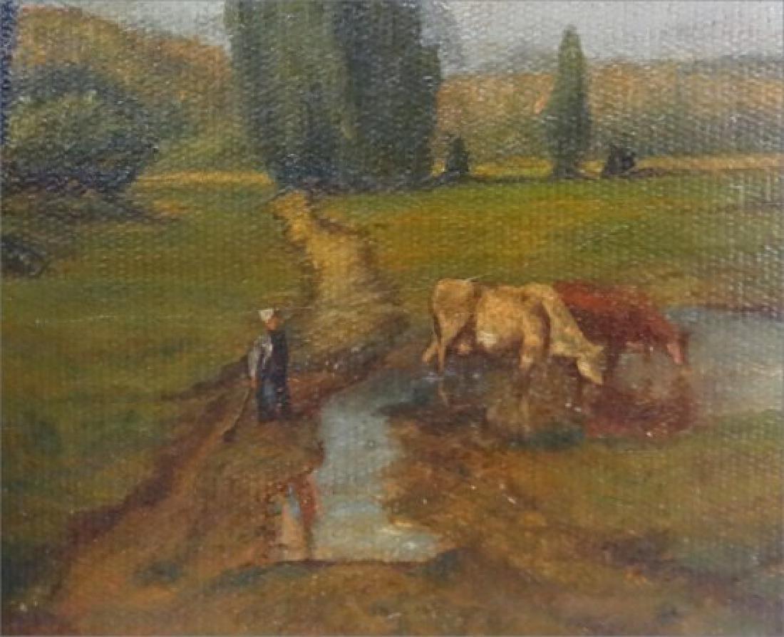 O/C PENNSYLVANIA LANDSCAPE W/ COWS & FIGURES - 3
