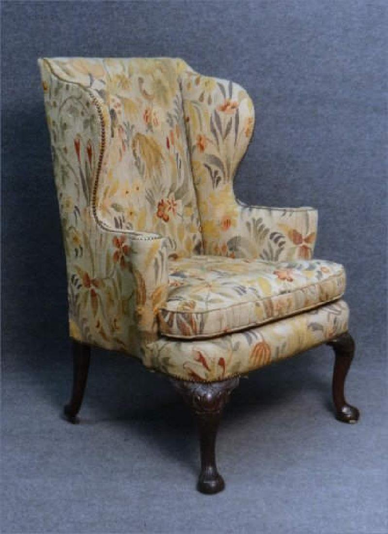 18THC IRISH WING BACK CHAIR W/ CARVED KNEES