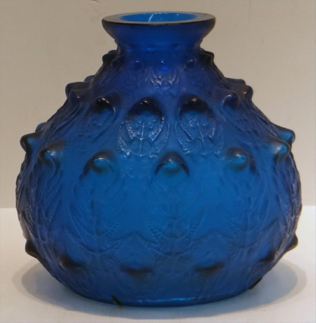 R. LALIQUE ART GLASS VASE W/ STAPLE REPAIR