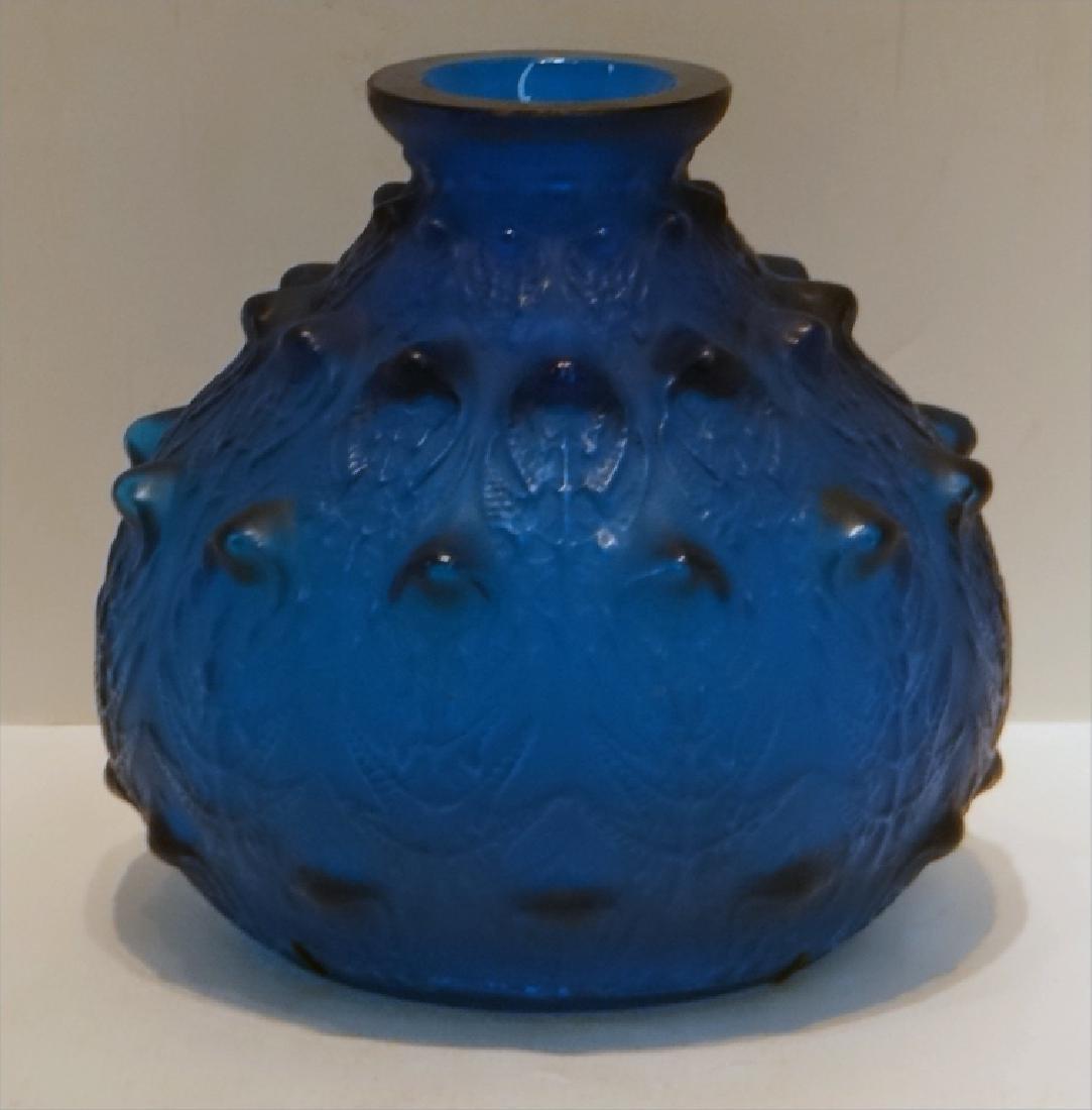 R. LALIQUE ART GLASS VASE W/ STAPLE REPAIR - 2