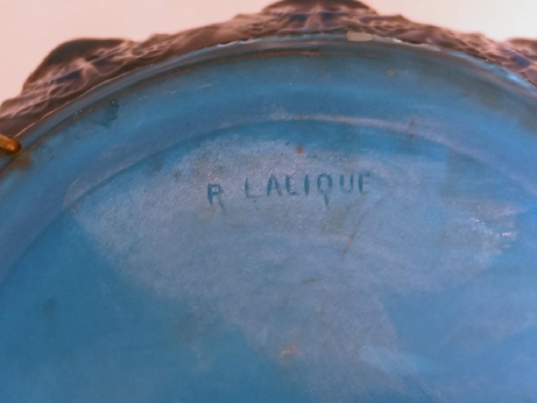 R. LALIQUE ART GLASS VASE W/ STAPLE REPAIR - 4