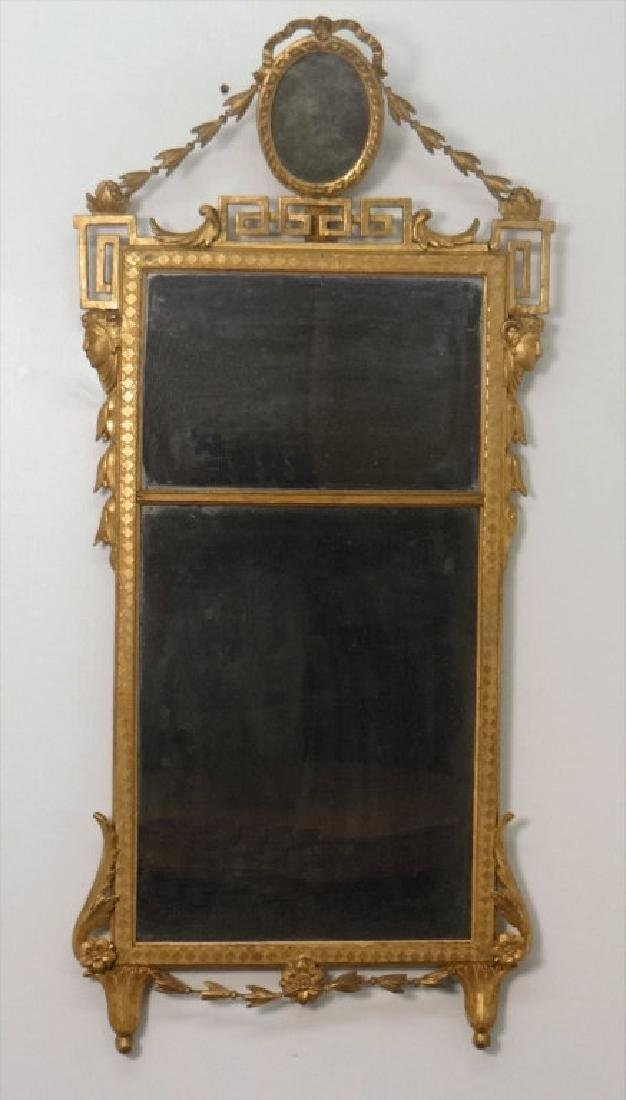 EARLY 19THC. CLASSICAL MIRROR IN ORIG. GILDING AND
