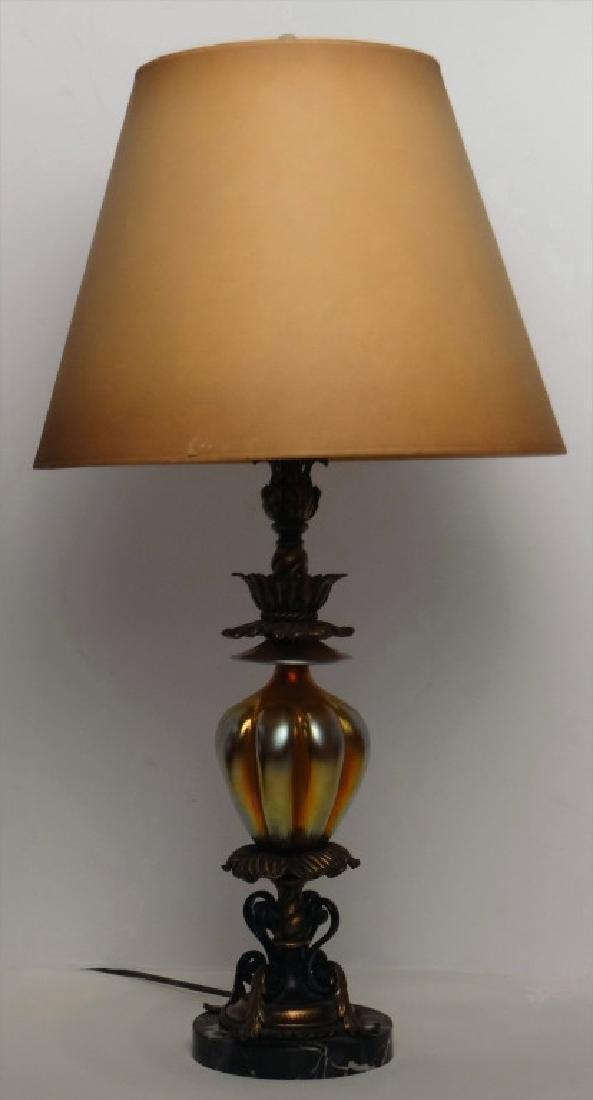 STEUBEN STYLE LAMP W/ ART GLASS MARBLE & METAL