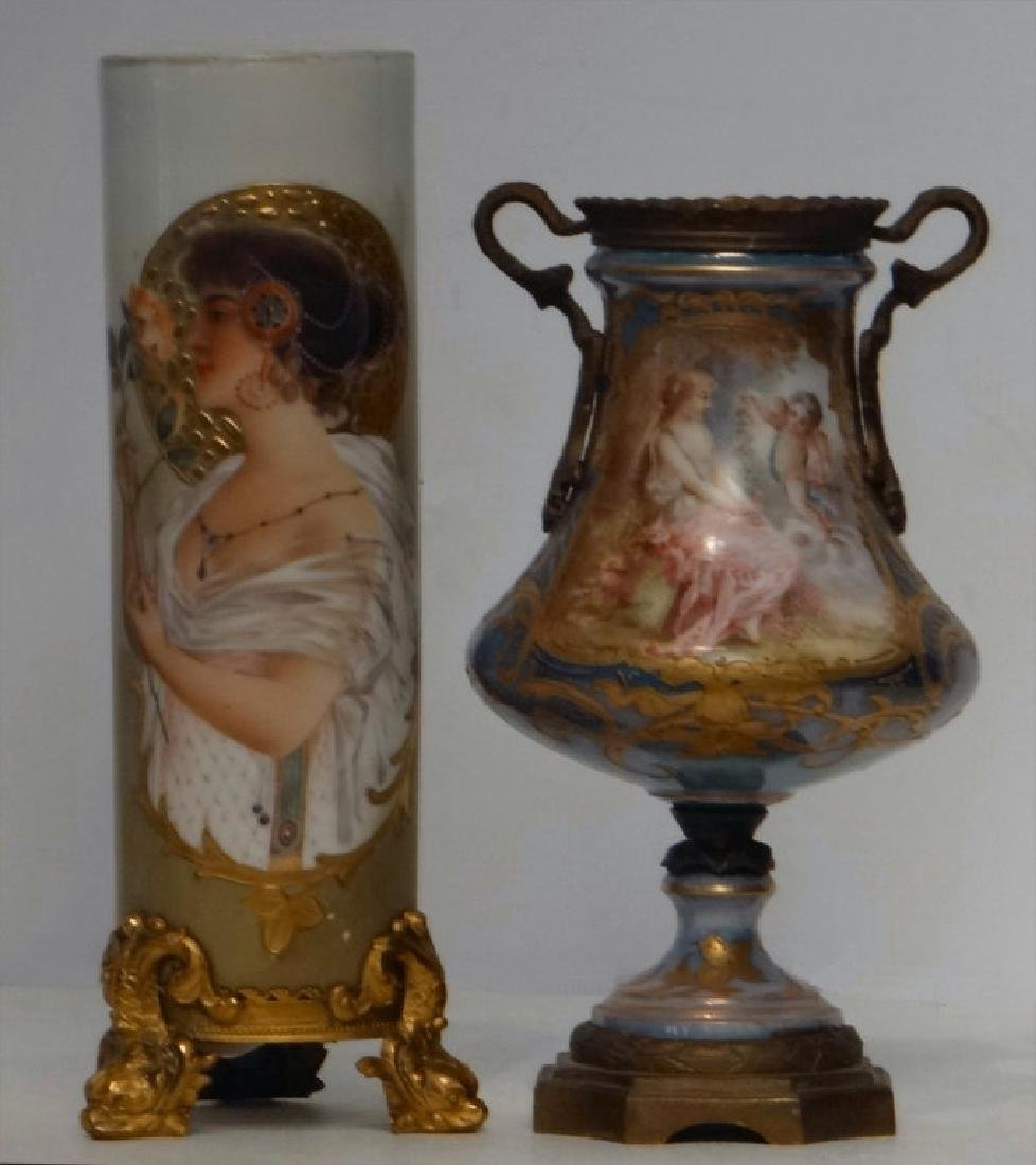 2 FRENCH PORCELAIN VASES W/ ORMOLU MOUNTS