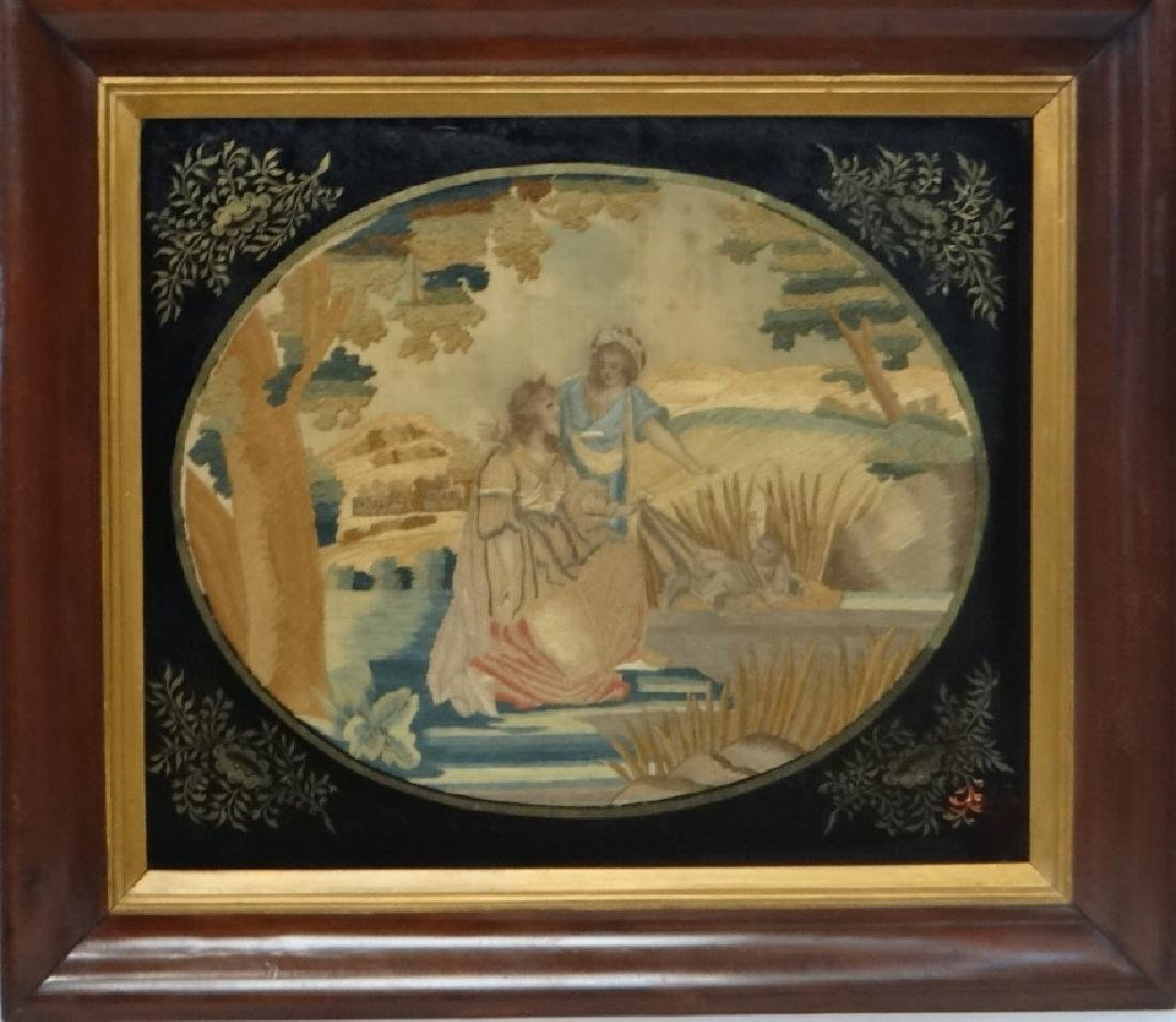 "SILKWORK ""MOSES IN THE BULL RUSHES"" EARLY 19THC."