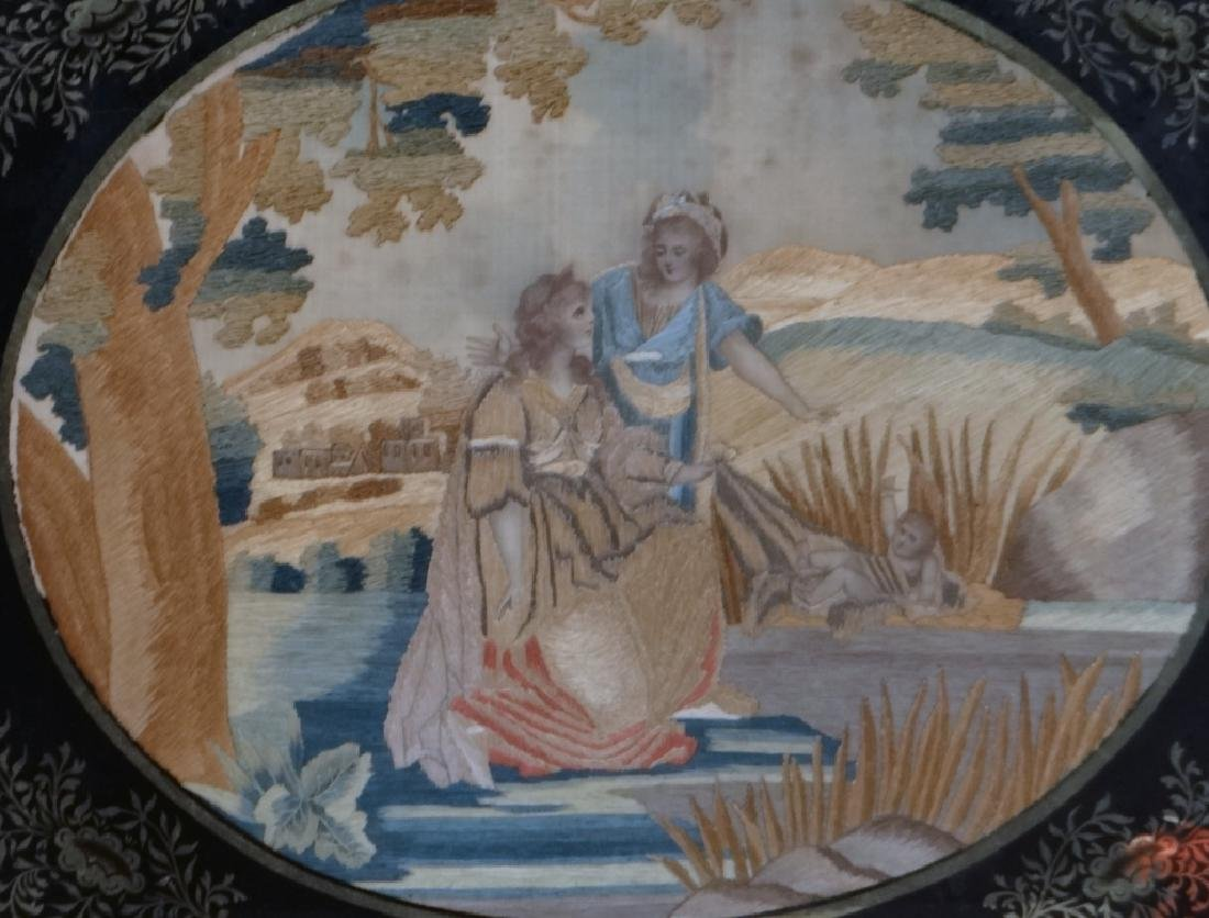 "SILKWORK ""MOSES IN THE BULL RUSHES"" EARLY 19THC. - 2"