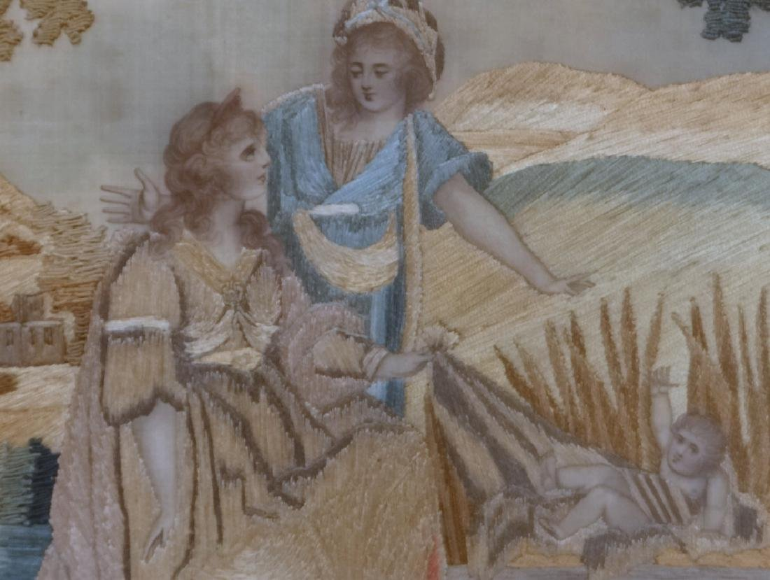 "SILKWORK ""MOSES IN THE BULL RUSHES"" EARLY 19THC. - 3"