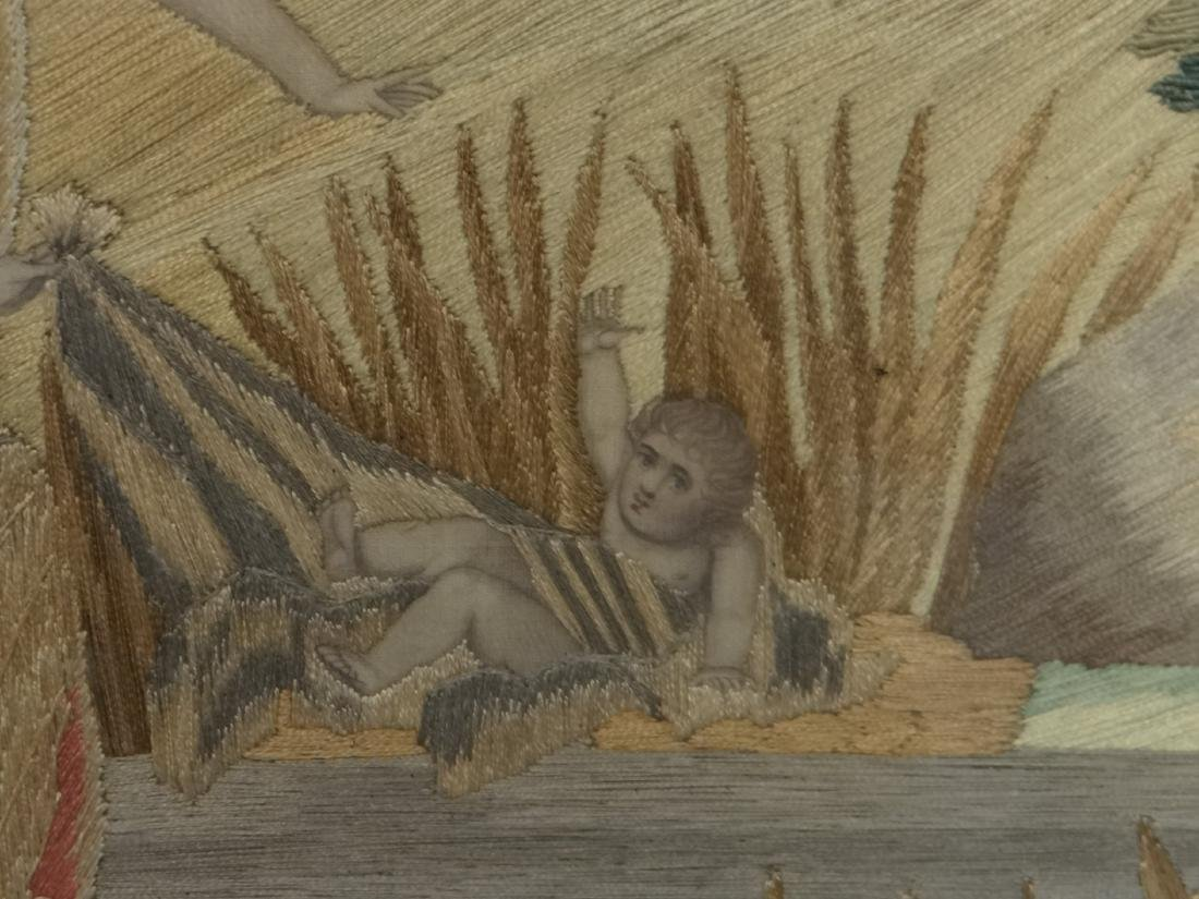 "SILKWORK ""MOSES IN THE BULL RUSHES"" EARLY 19THC. - 4"