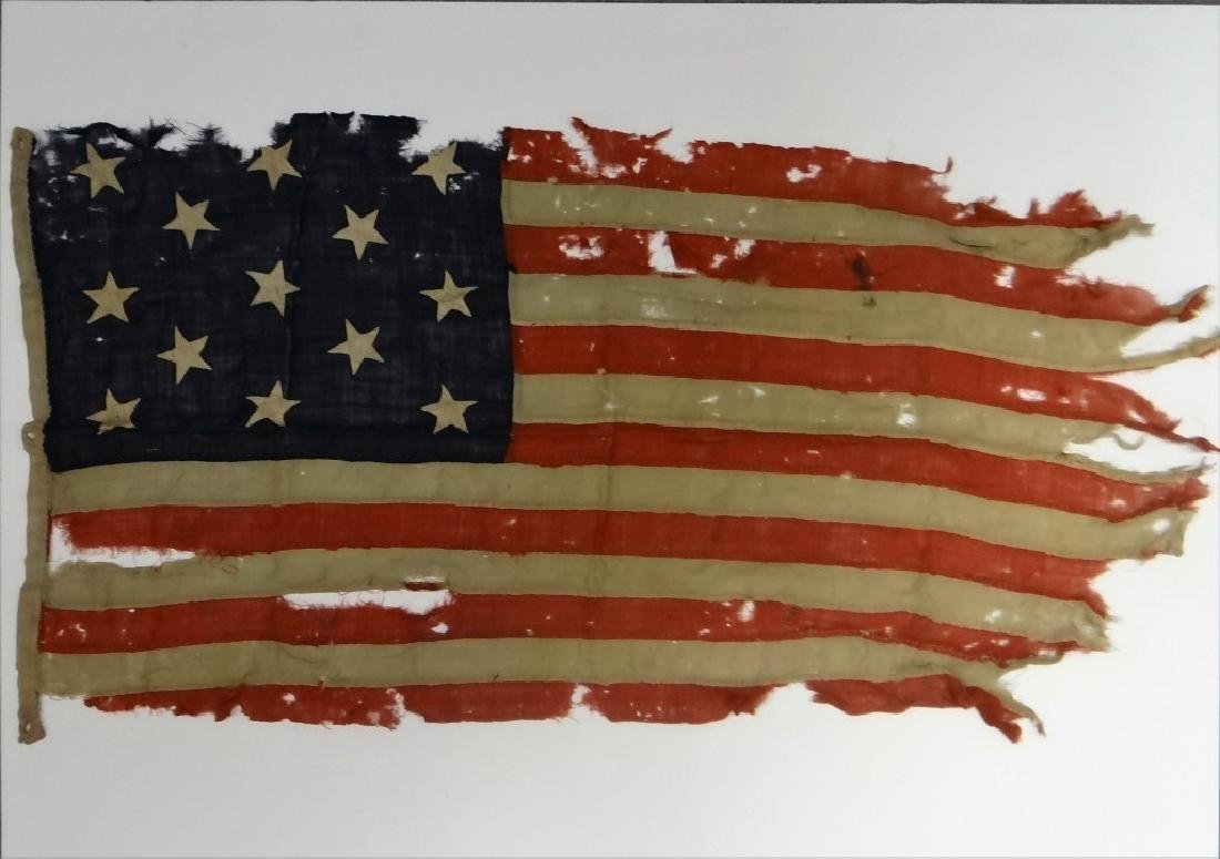 EARLY HAND STITCHED LINDSEY WOOLSEY 13 STAR  FLAG