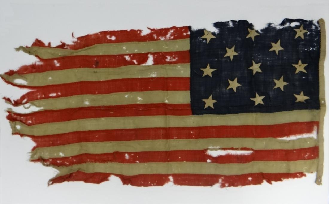 EARLY HAND STITCHED LINDSEY WOOLSEY 13 STAR  FLAG - 2