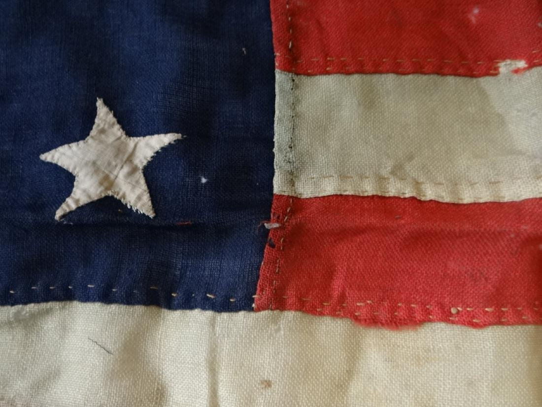 EARLY HAND STITCHED LINDSEY WOOLSEY 13 STAR  FLAG - 3