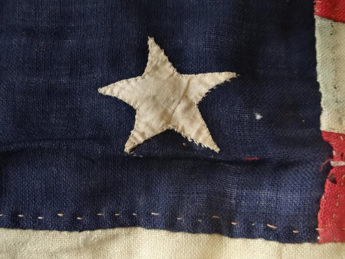 EARLY HAND STITCHED LINDSEY WOOLSEY 13 STAR  FLAG - 4