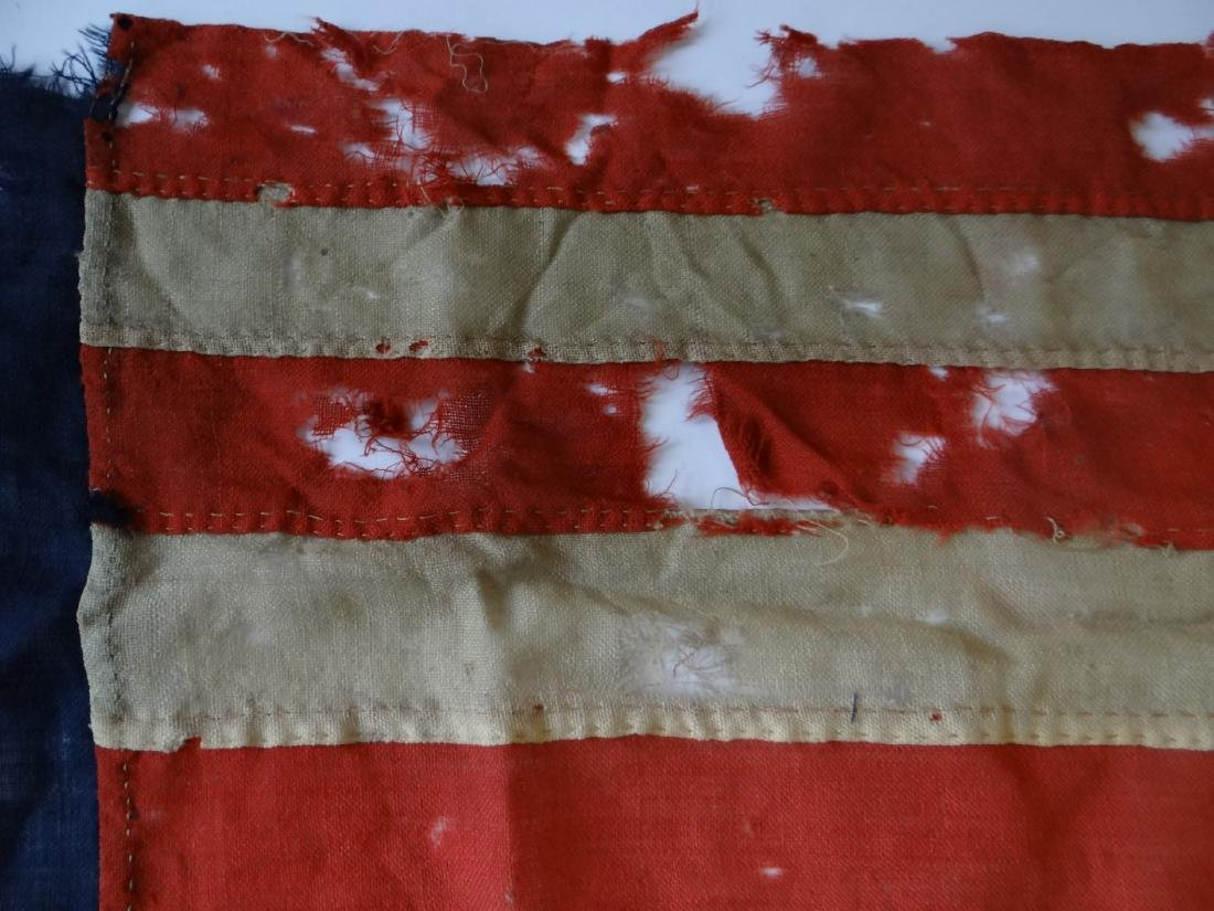 EARLY HAND STITCHED LINDSEY WOOLSEY 13 STAR  FLAG - 8