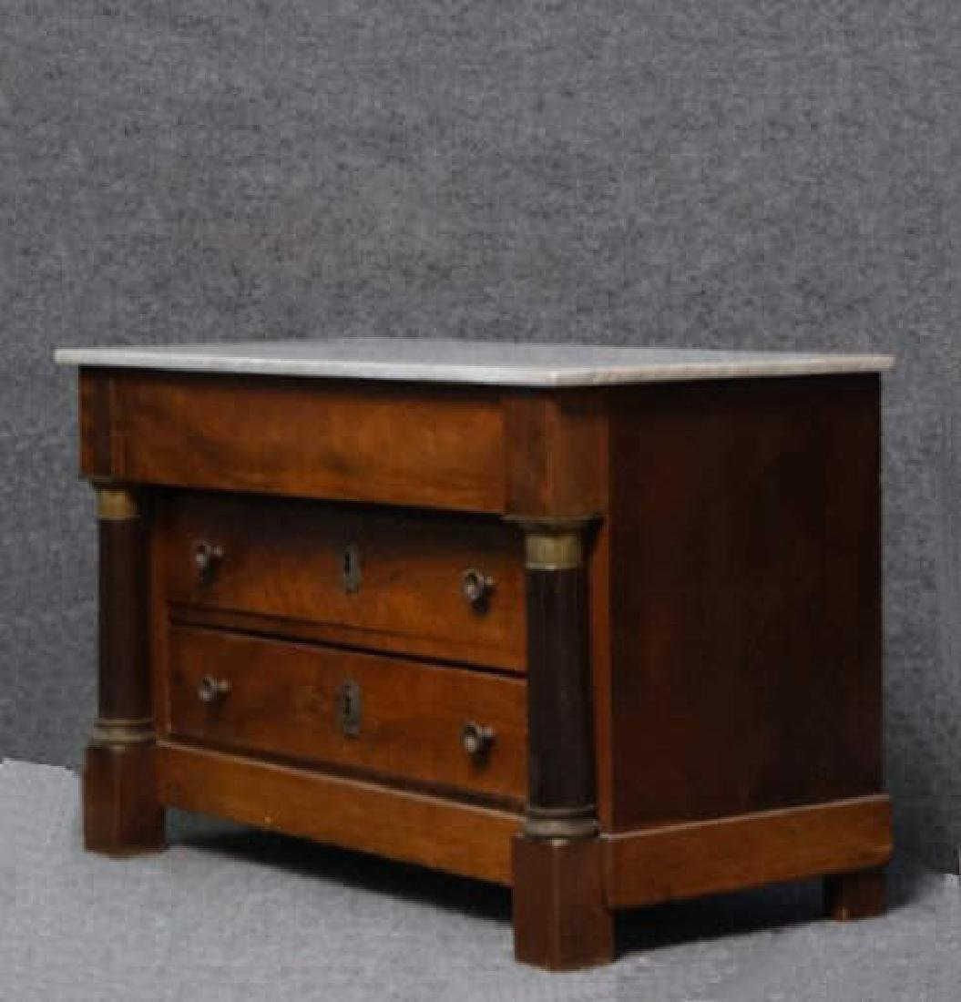 MINIATURE FRENCH EMPIRE MARBLE TOP 3 DR COMMODE