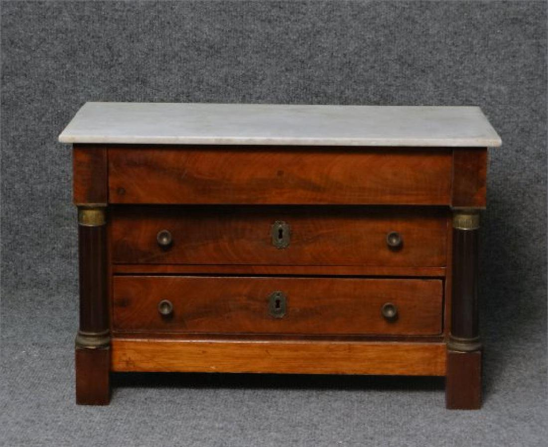 MINIATURE FRENCH EMPIRE MARBLE TOP 3 DR COMMODE - 2