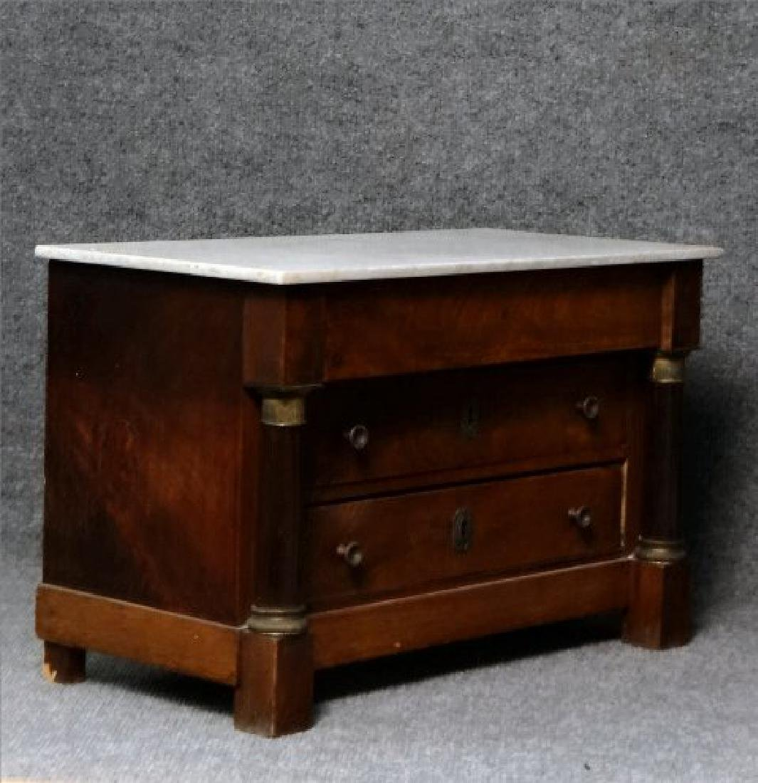 MINIATURE FRENCH EMPIRE MARBLE TOP 3 DR COMMODE - 3