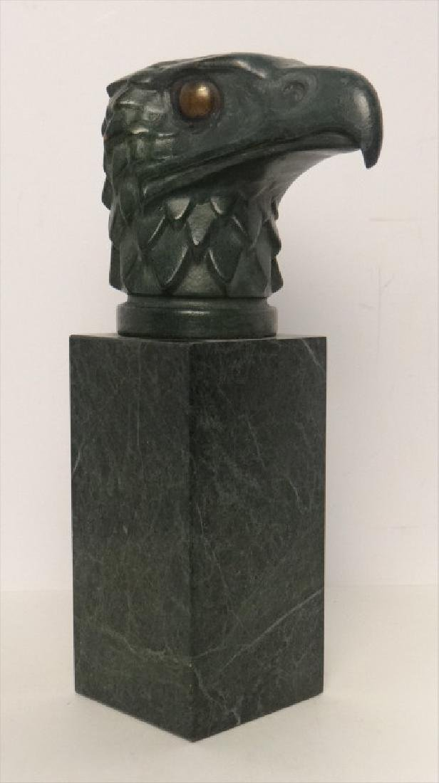 "20THC. BRONZE EAGLE HEAD ON MARBLE PEDESTAL 10"" T"