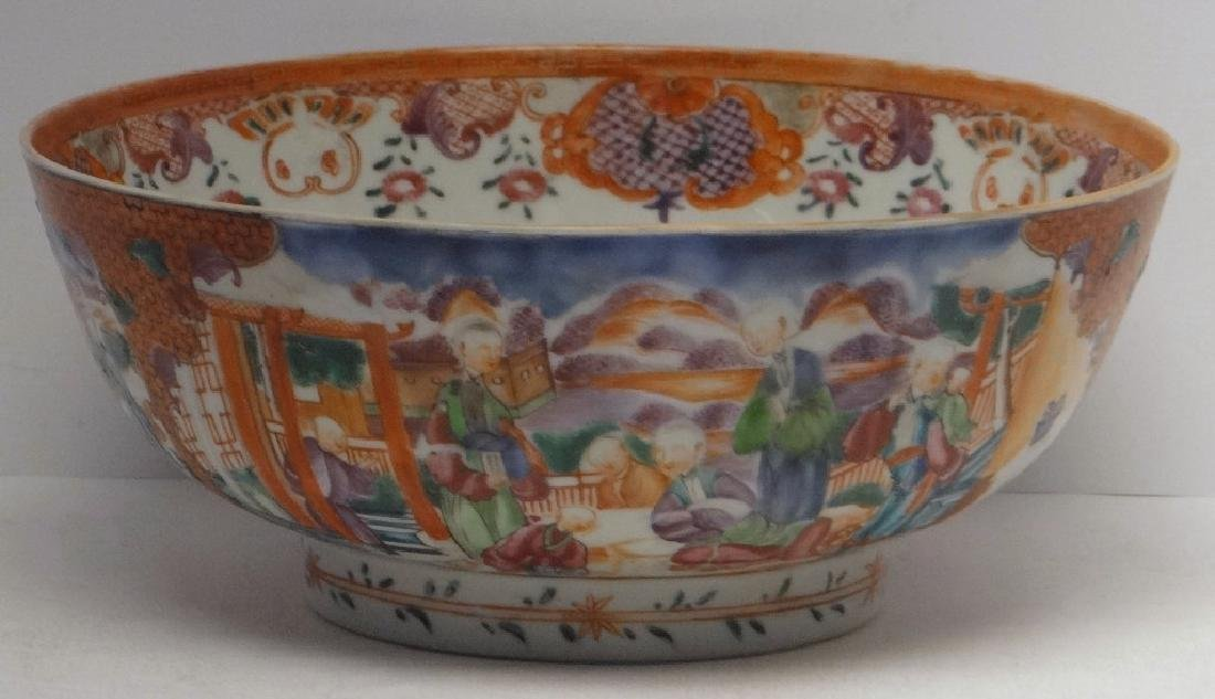 18THC. CHINA TRADE PUNCH BOWL DECORATED IN A