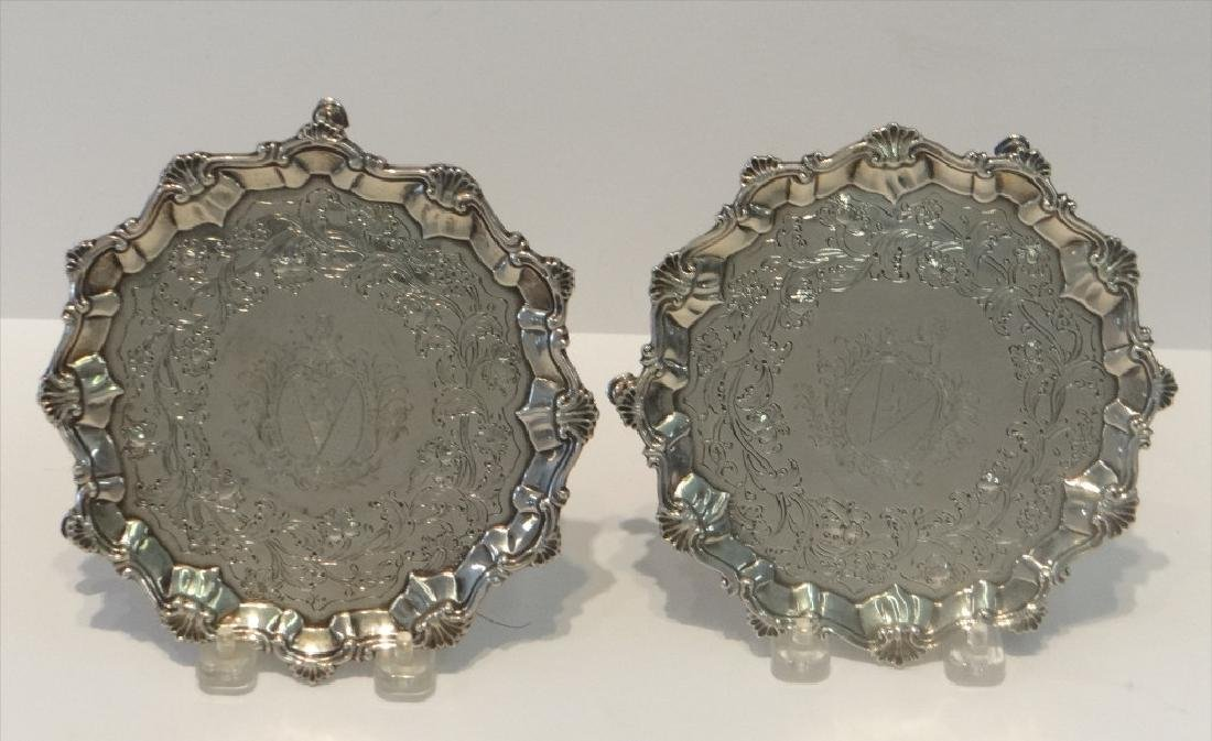 "2- 18THC. STERLING SILVER 7"" SALVERS"