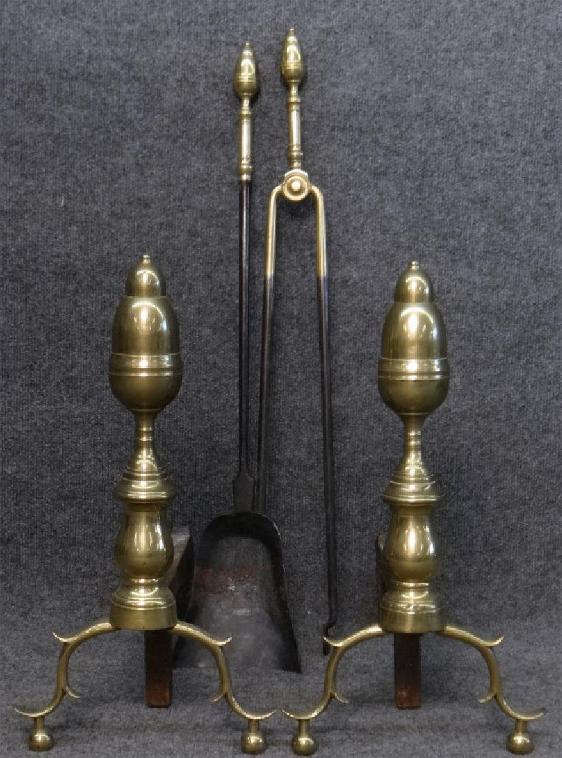 EARLY 19THC. ANDIRONS & FIRE TOOLS, ACORN FINIALS