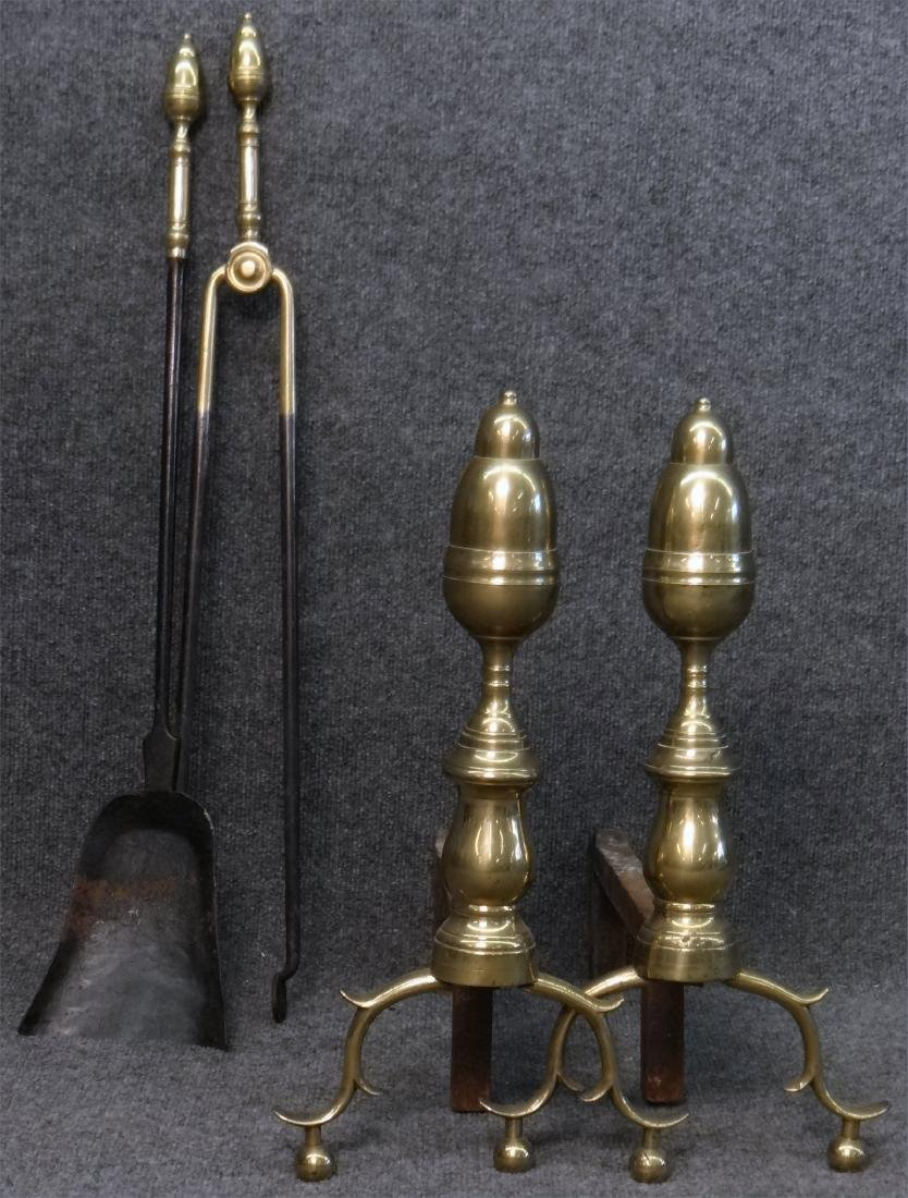 EARLY 19THC. ANDIRONS & FIRE TOOLS, ACORN FINIALS - 3