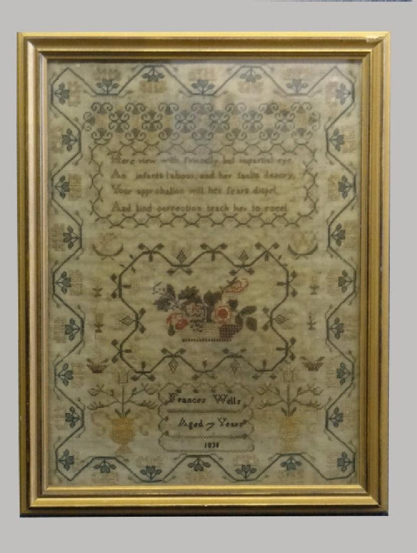 HAND STITCHED SAMPLER BY FRANCES WELLS, 1830