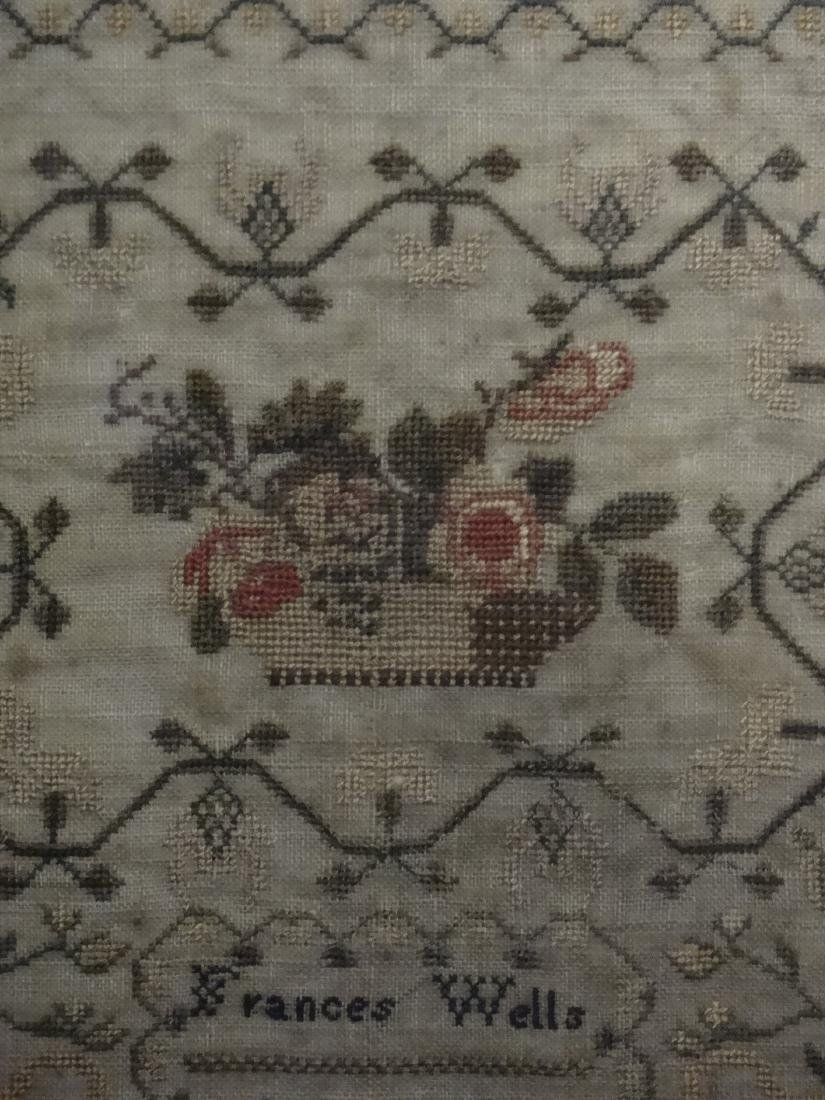 HAND STITCHED SAMPLER BY FRANCES WELLS, 1830 - 4