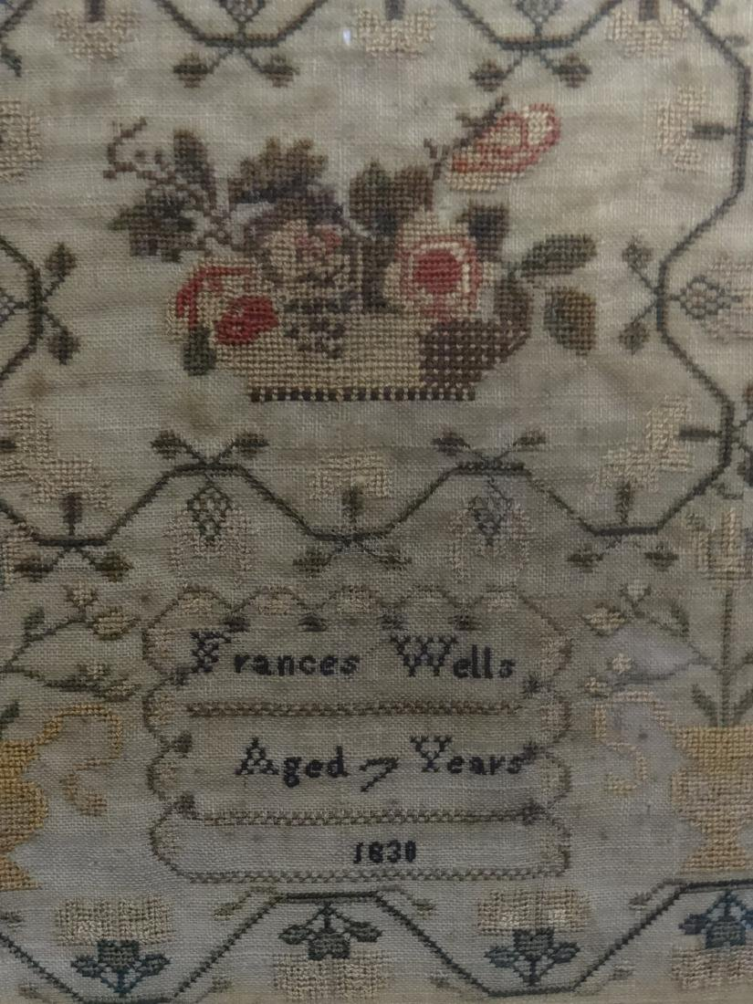 HAND STITCHED SAMPLER BY FRANCES WELLS, 1830 - 5