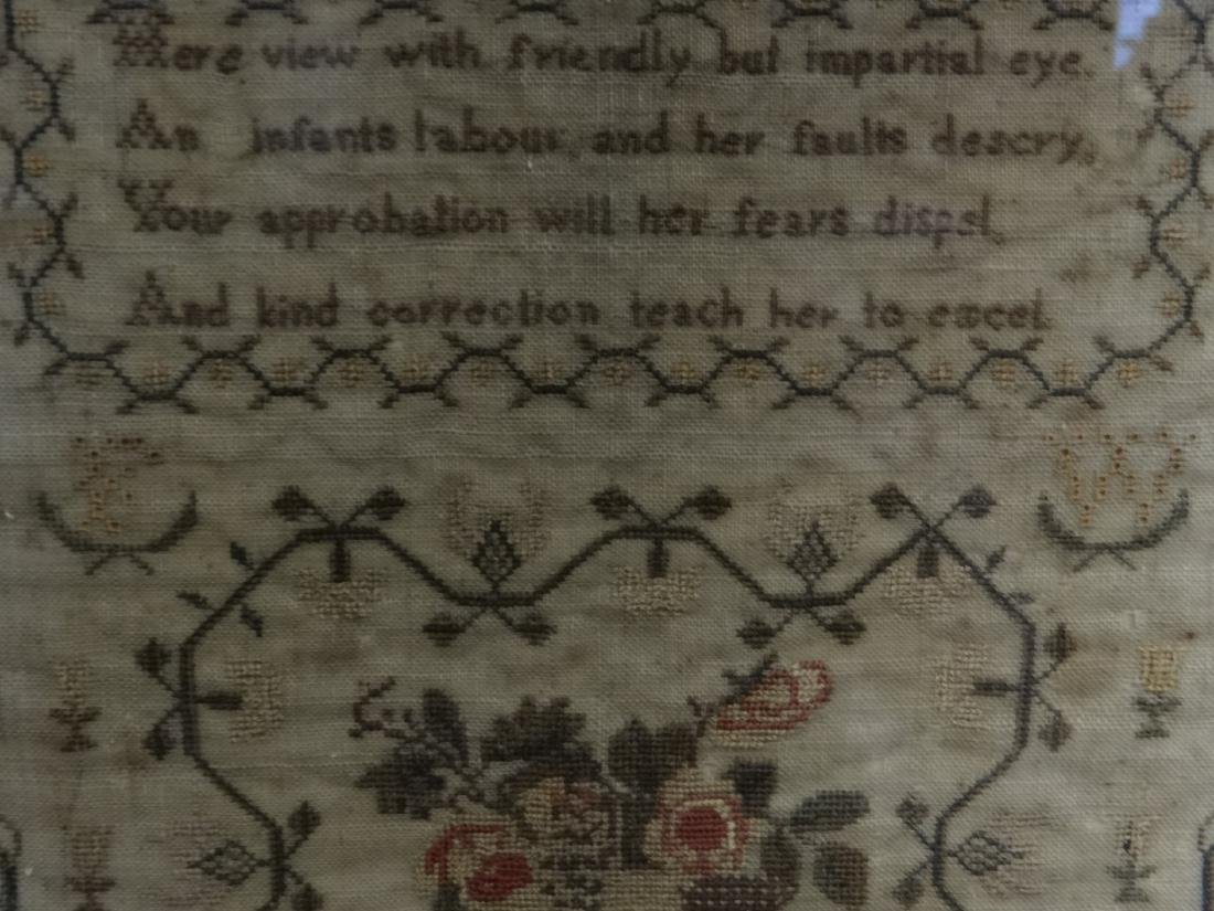 HAND STITCHED SAMPLER BY FRANCES WELLS, 1830 - 6