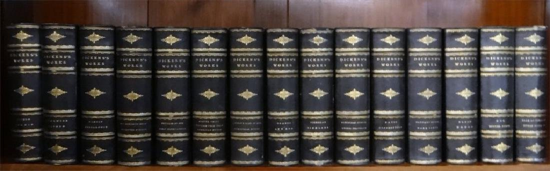15 VOLUMES CHARLES DICKINS IN QUARTER BOUND
