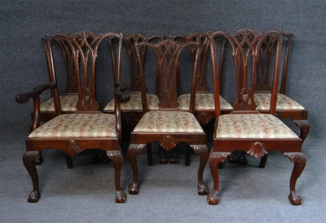 SET OF 7 CENTENNIAL CHIPPENDALE STYLE CHAIRS - 2