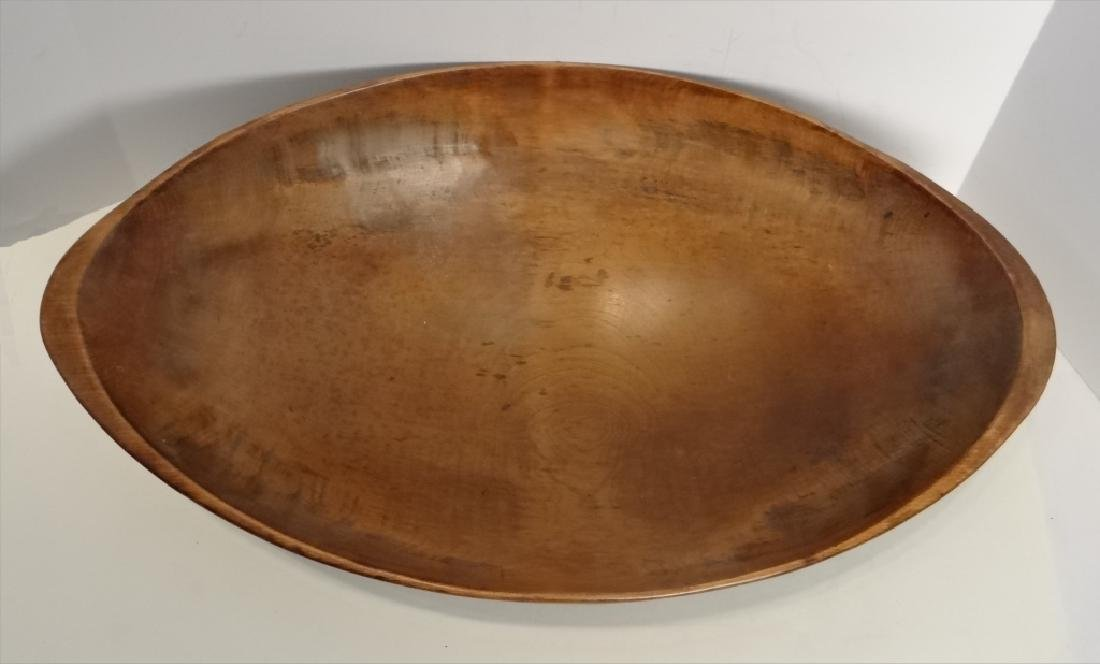 OVAL WOODEN BOWL W/ 5 BUTTER PRINTS - 7