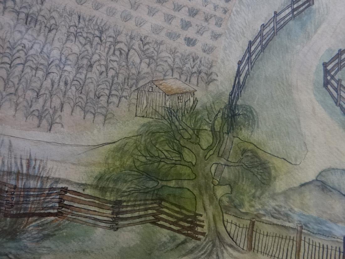 "WATERCOLOR FARM SCENE ""ZEHNER HOMESTEAD"" - 4"