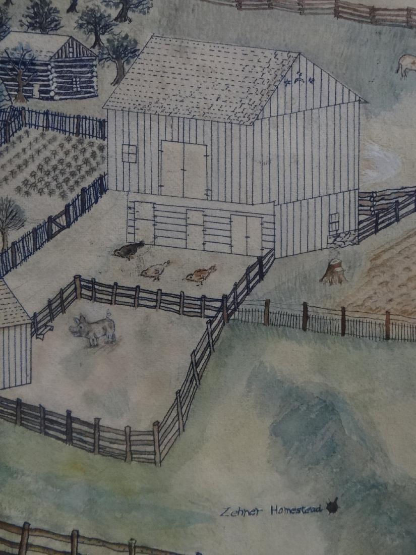 "WATERCOLOR FARM SCENE ""ZEHNER HOMESTEAD"" - 5"