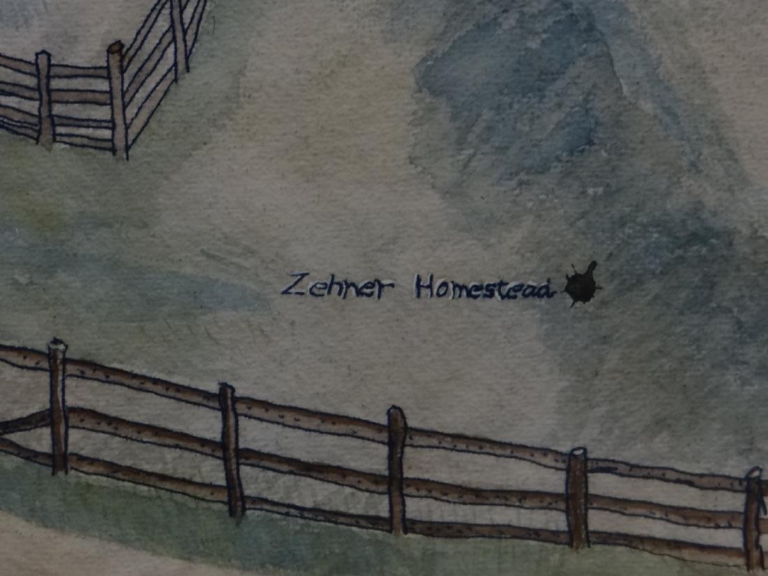 "WATERCOLOR FARM SCENE ""ZEHNER HOMESTEAD"" - 6"