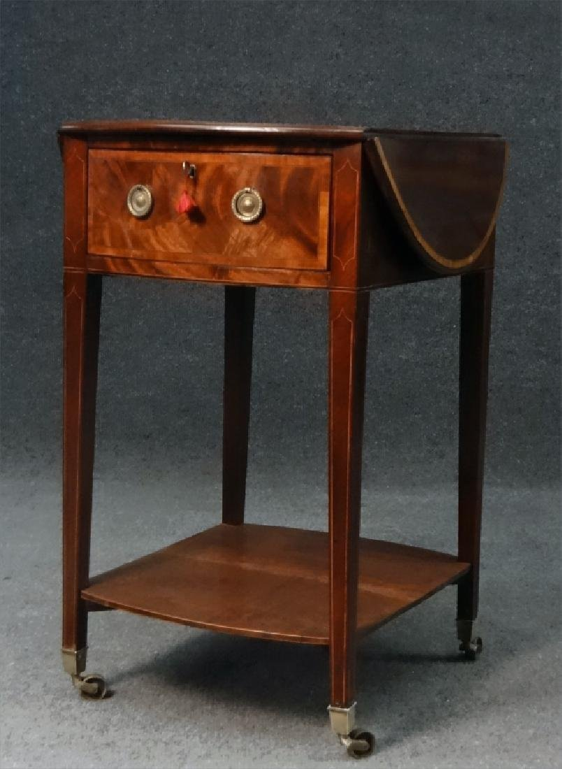 ENGLISH REGENCY INLAID DROPLEAF WORK TABLE - 2