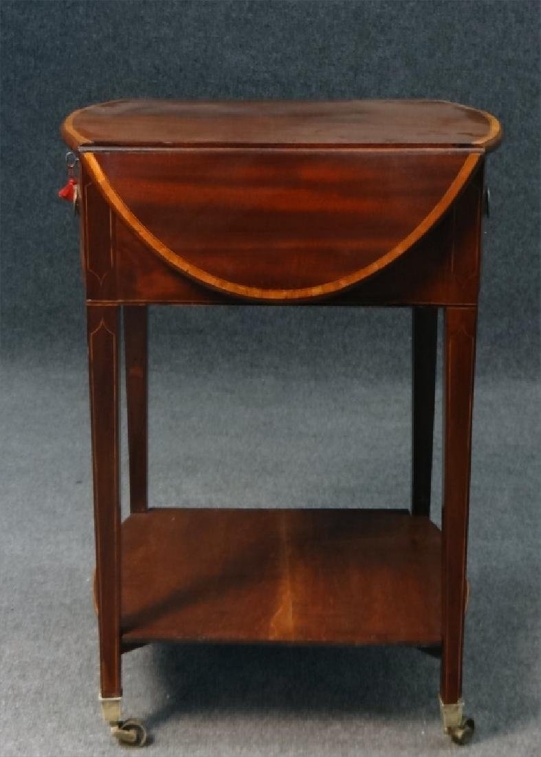 ENGLISH REGENCY INLAID DROPLEAF WORK TABLE - 3