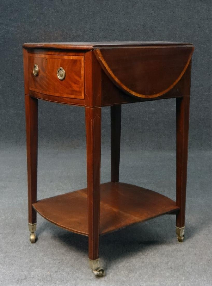 ENGLISH REGENCY INLAID DROPLEAF WORK TABLE - 4