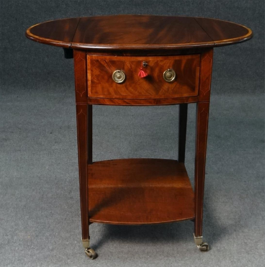 ENGLISH REGENCY INLAID DROPLEAF WORK TABLE - 6