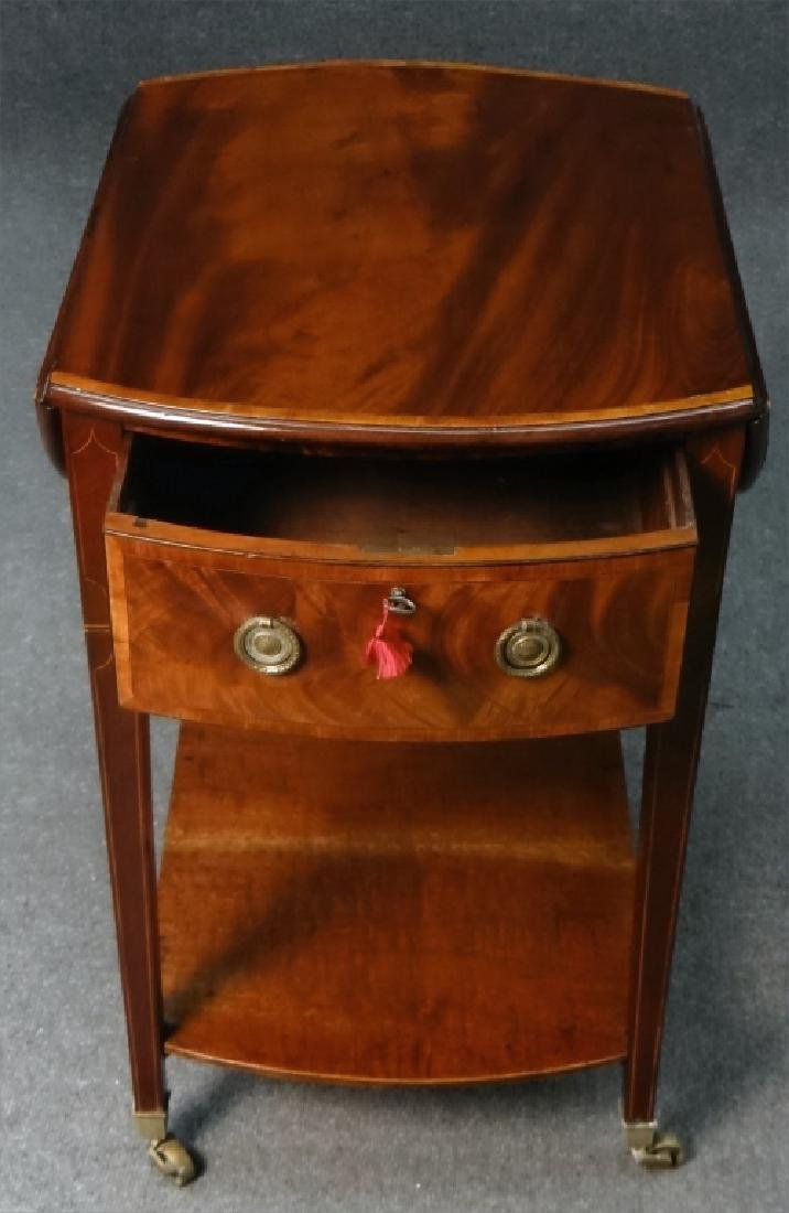 ENGLISH REGENCY INLAID DROPLEAF WORK TABLE - 7