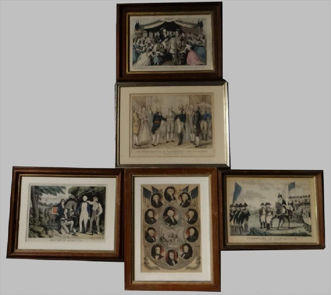 5 SMALL FOLIO 19THC. PRINTS, 3 BY N. CURRIER , 1